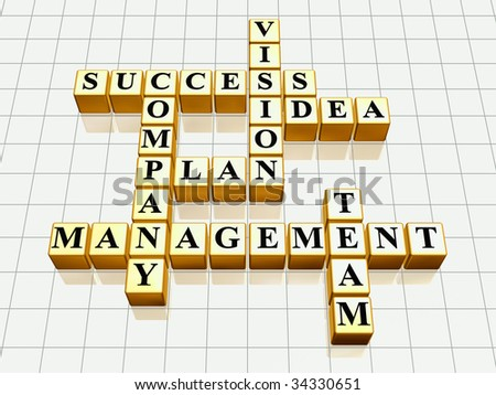3d golden cubes like crossword - success; plan; idea; company; vision; management; team