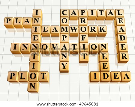 3d golden cubes like crossword - teamwork, innovation, leader, idea, plan, plot, company, capital, profit, intention, need