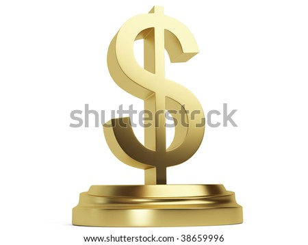 3d Golden Dollar Sign isolated on the white background