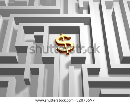 3d golden dollar symbol in the centre of labyrinth