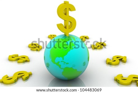 3D golden dollar with earth concept