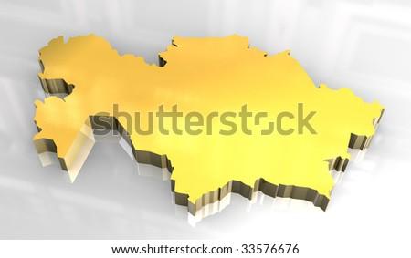 3d golden flag of khazakstan