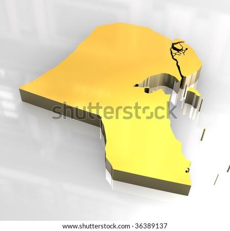 3d golden flag of kuwait - stock photo