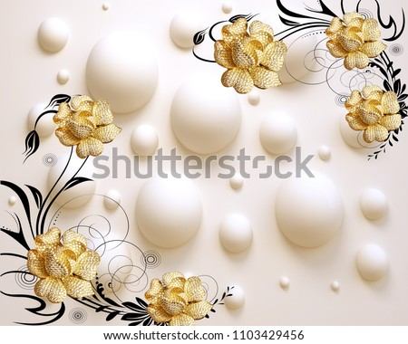 3D golden flower art.