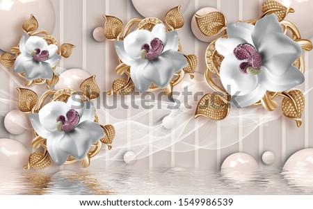 3d golden flowers 3d 3D poles and Balls background 3d wallpaper