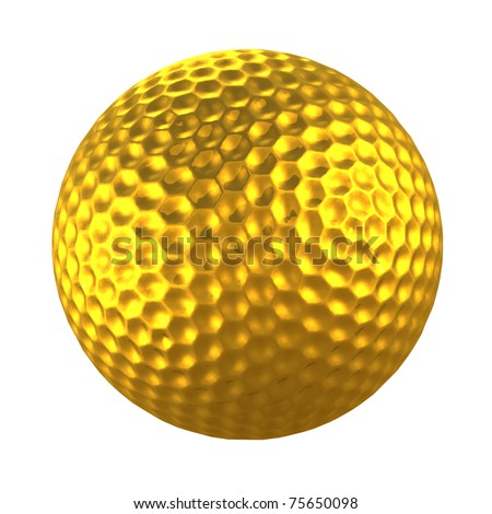 3d golden golf ball in white isolation background