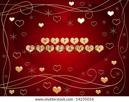 stock photo : 3d golden hearts, red letters, text - happy birthday, flowers