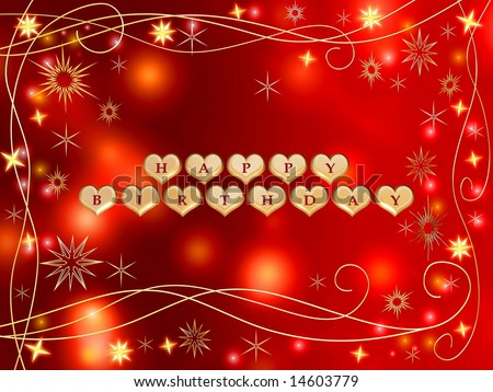 stock photo : 3d golden hearts, red letters, text - happy birthday, stars