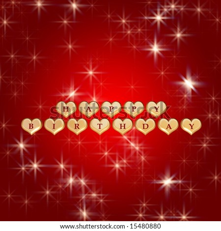 3d golden hearts red letters text happy birthday stars stock