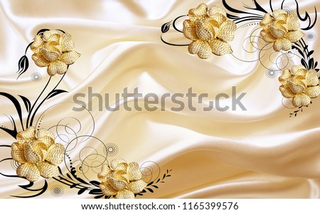 3D Golden jewellery flower on fabric background, Wallpaper for walls.