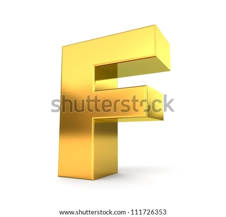 3d golden letter collection - F