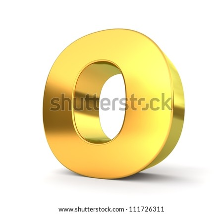 3d golden letter collection - O