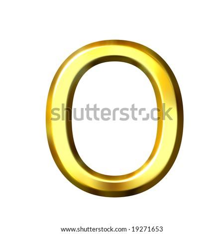 3d golden letter o