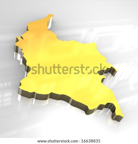 map of colombia. stock photo : 3d golden map of colombia
