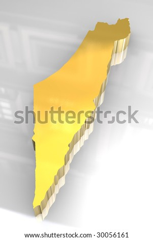 3d golden map of Israel