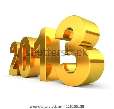 3d golden 2013 number - new year concept