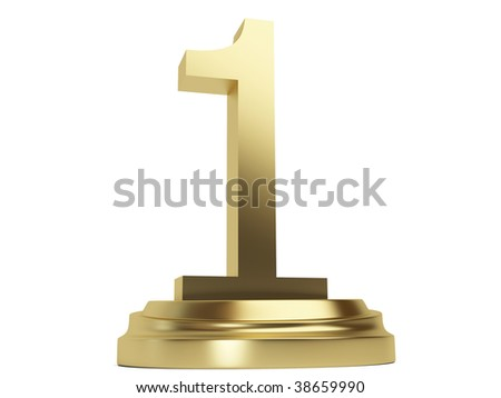 3d Golden number one Sign isolated on the white background
