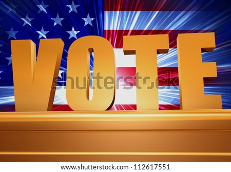 3d golden pedestal with american flag and word vote
