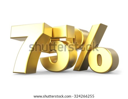 3D golden percentage discount collection - version 75 % off