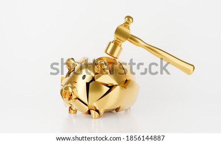 3d golden piggy bank isolated on white background abstract. Empty broken piggy bank hammer. 3d rendering for bankruptcy, budget concept. Save money business finance. Pig money box.