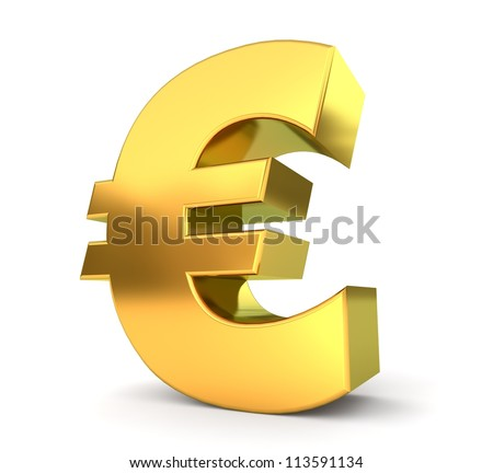 3d golden sign collection - euro