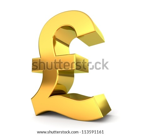 3d golden sign collection - pound