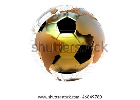3d golden soccer ball with metallic continents