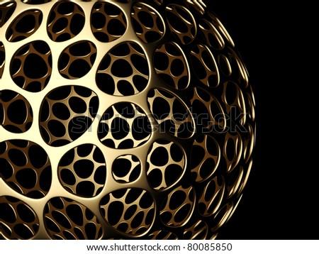 3d golden sphere on the black background