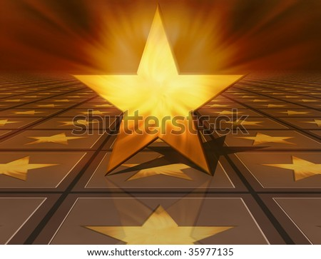 3d golden star on brown background