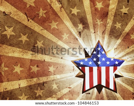 3d golden star with usa flag over vintage background with rays