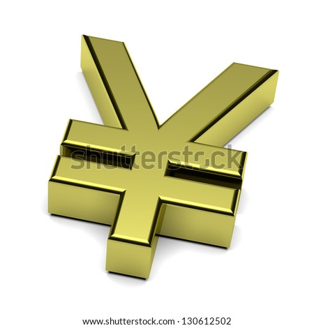 3D golden Yen or Yuan currency sign isolated on white background illustration