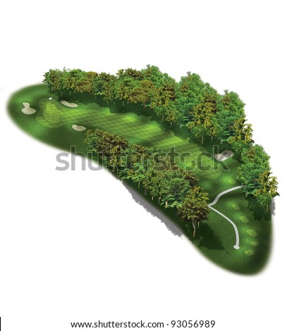3D Golf Course Hole Layout/Three dimensional dog leg illustration