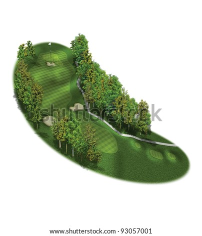 3D Golf Course Hole Layout/Three dimensional golf illustration #93057001