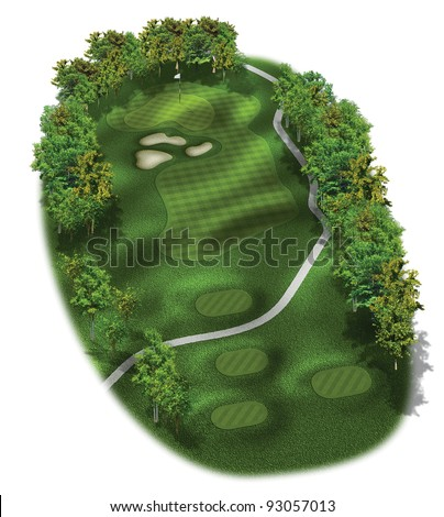 3D Golf Course Hole Layout/Three dimensional golf illustration of a par three hole