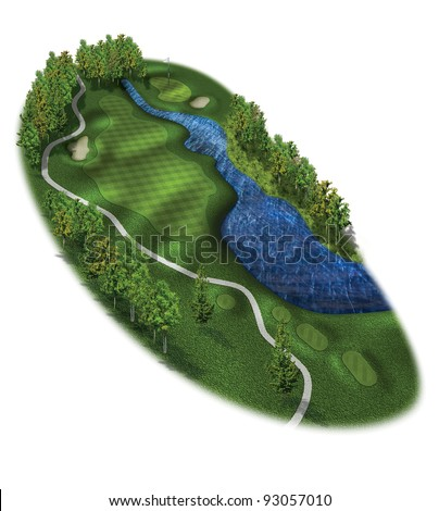 3D Golf Course Hole Layout/Three dimensional golf illustration with tees and green