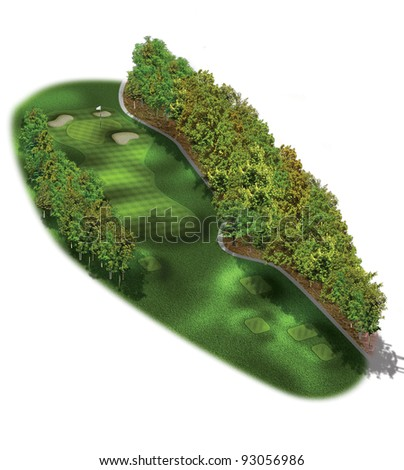 3D Golf Course Hole Layout/Three dimensional golf illustration with trees #93056986