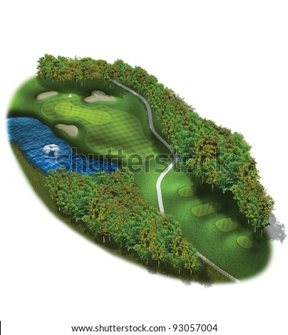 3D Golf Course Hole Layout/Three dimensional golf illustration with water hazard
