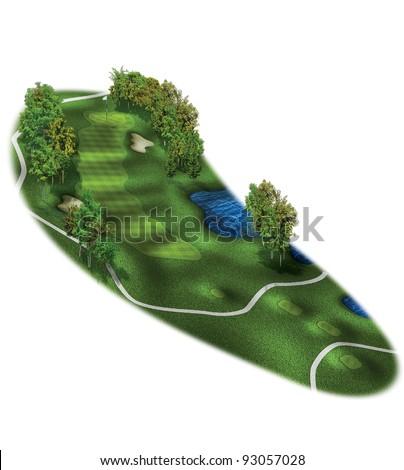 3D Golf Course Hole Layout/Three dimensional, par 4 golf illustration