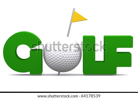 3d golfball decorate in a GOLF word