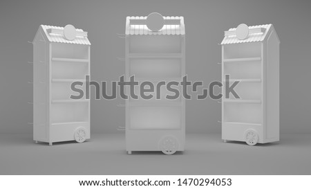 3D gondola mock up design for product display isolated - Illustration