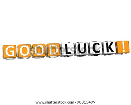 3D Good Luck Cube text on white background