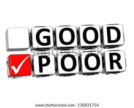 3D Good Poor Button Click Here Block Text over white background