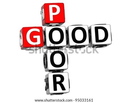 3D Good Poor Crossword on white background - stock photo