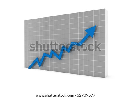 3d graph arrow blue high isolated on white background