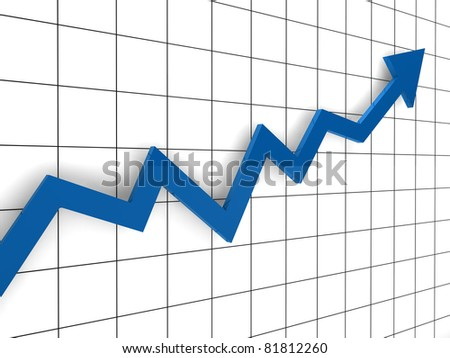 3d, graph, arrow, blue, success, finance, diagram