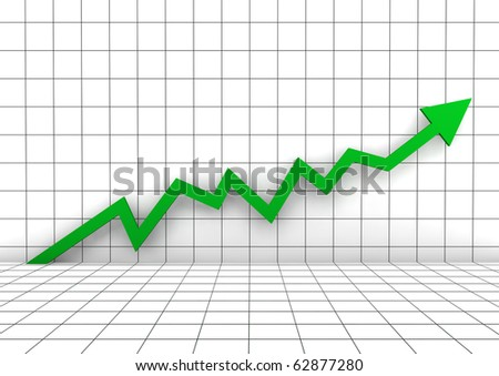 3d graph arrow green high isolated on white background