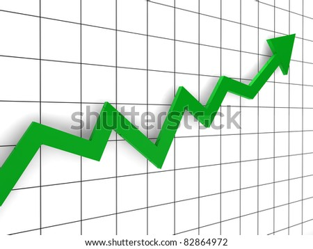 3d, graph, arrow, green, success, finance, diagram