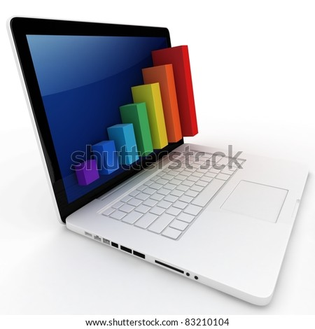 3d graph diagram bars with laptop on white background