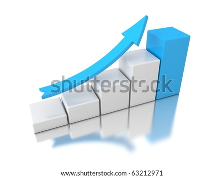 3d graph with blue arrow isolated on white background