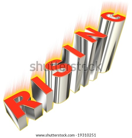 3D graph with  word rising on white background
